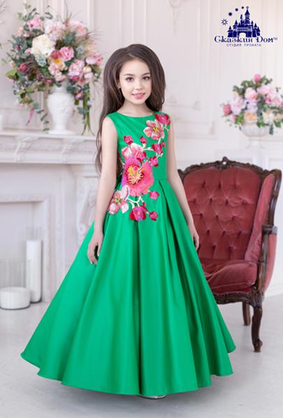 6982d2b5cd8035a Длинное пышное вечернее нарядное детское платье зеленого цвета прокат Днепр  «Рио» (сочная зелень)